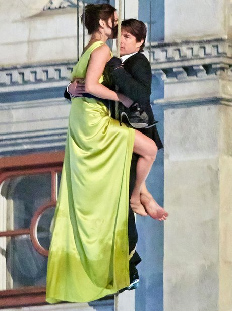 Tom Cruise and Rebecca Ferguson on set of Mission Impossible