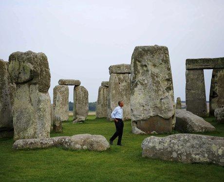 Barrack Obama At Stonehenge