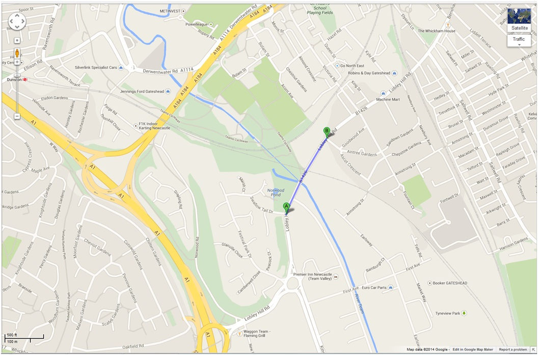 google map - lobley hill road closure gateshead