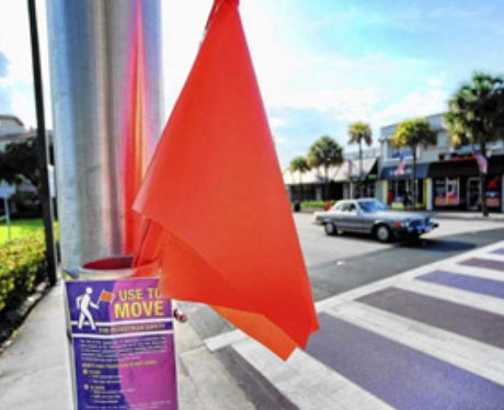 A red flag at a crossing