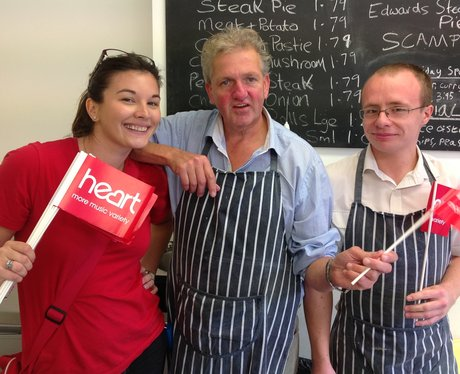heart angel with two fish and chip shop men