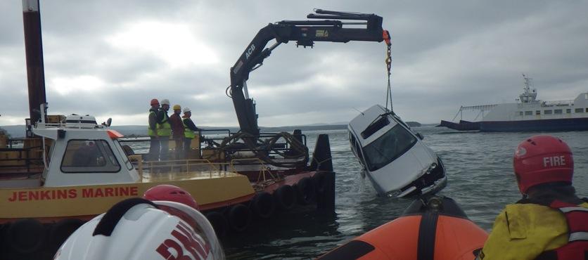 car in water at Sandbanks