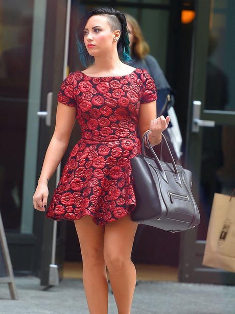 Demi Lovato Shaved Head Floral Dress