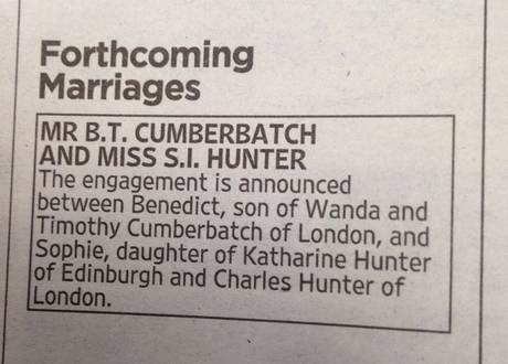 benedict cumberbatch engagement announcement