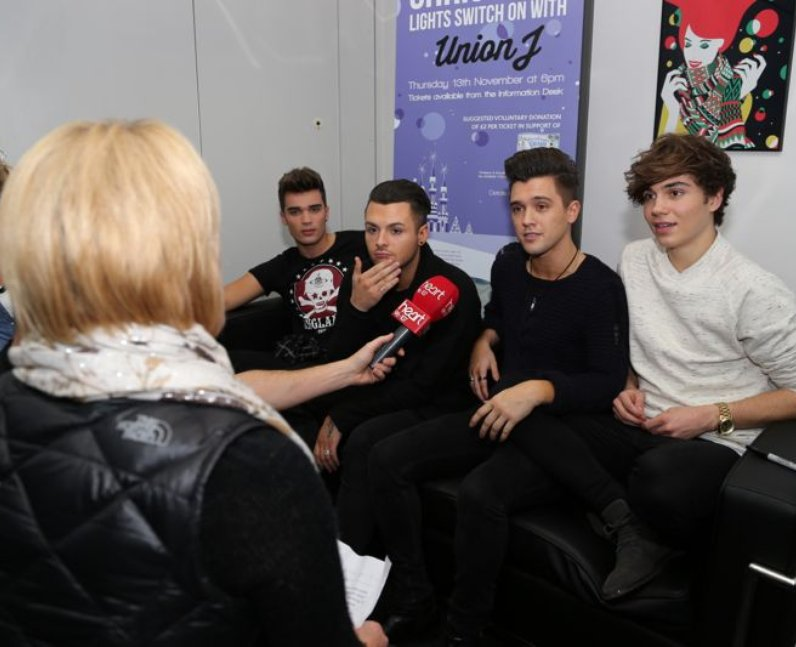 Heart Breakfast catch up with Union J before the light switch on at The Mall