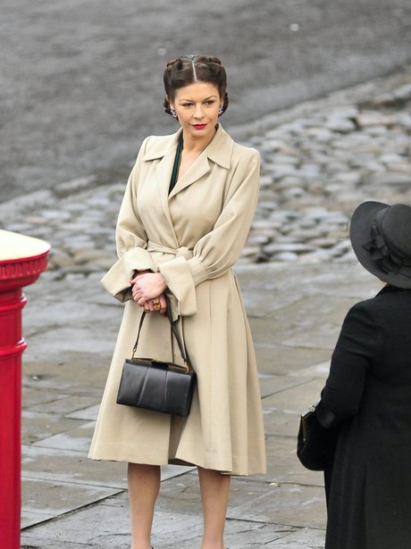 Catherine Zeta Jones on set for Dads Army