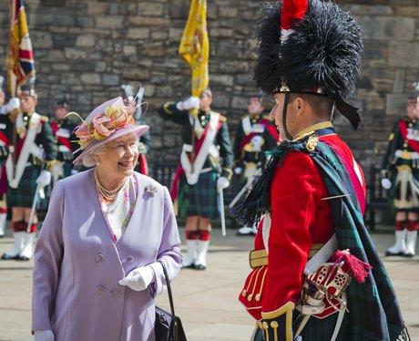 Queen Elizabeth II wearing lilac