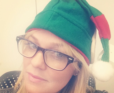 Emma Bunton in an elf hat