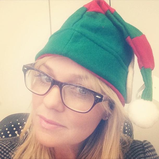 Emma Bunton in an elf hat