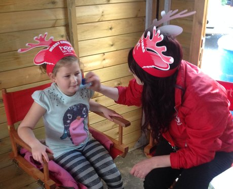 visitors to fayre with face paints and Heart Antle