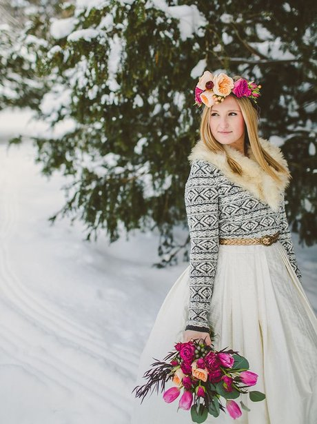 The most beautiful winter wedding dresses heart a gorgeous flowery headdress is a way to add colour whilst keeping your dress classic junglespirit Gallery