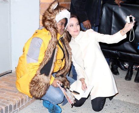 Angelina Jolie with fan taking a selfie