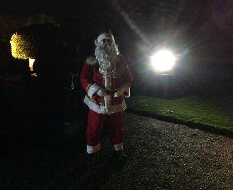 santa on a path
