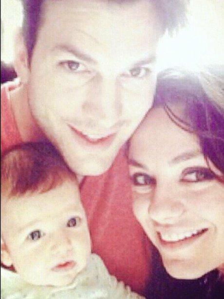Ashton and Mila Kutcher and baby