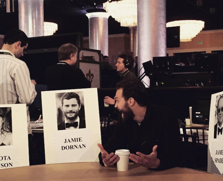 Jamie Dornan with his place name