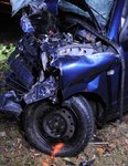 Car wreckage in Rachel Titley crash