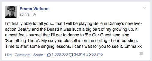 Emma Watson Beauty & The Beast Facebook Post