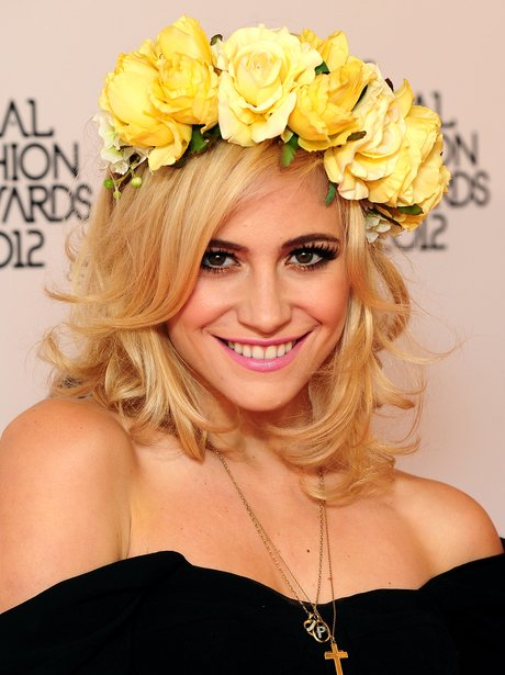 Pixie Lott with flowers in her hair
