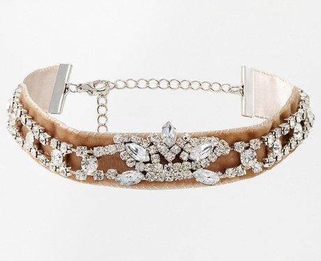 ASOS Crushed Velvet Jewel Choker Necklace
