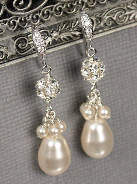Lizardi Bridal Teardrop Pearl Earrings