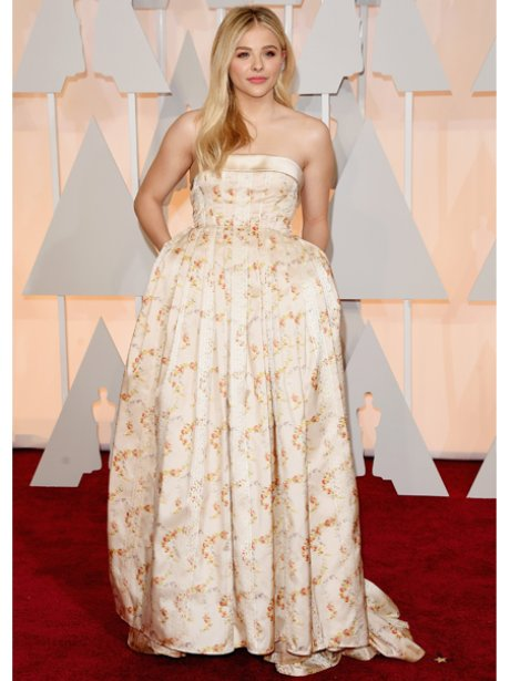 Chloe Moretz in a white dress on the red carpet