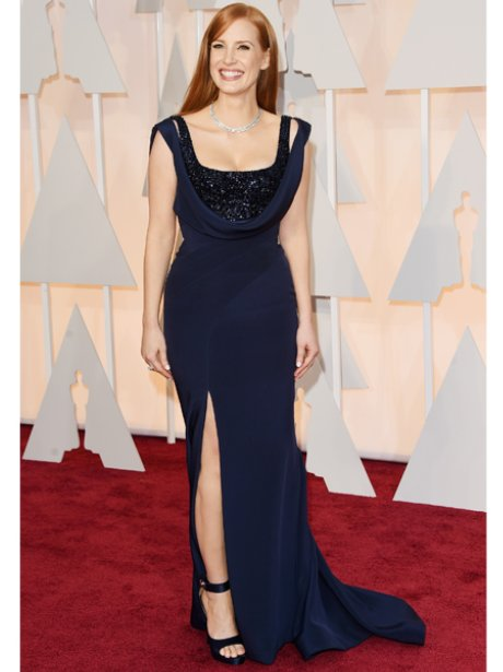 Jessica Chastain in a blue dress on the red carpet
