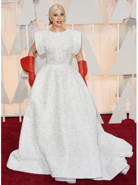 Lady Gaga in a white dress on the red carpet