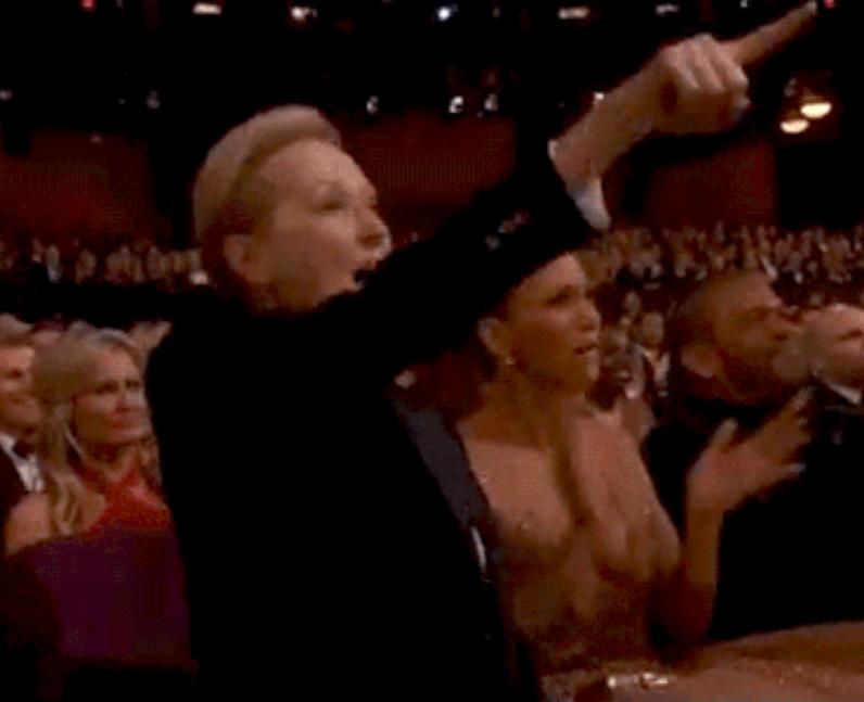 Meryl Streep cheering