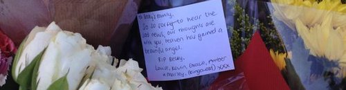 Flowers left at Becky Watts home in Bristol