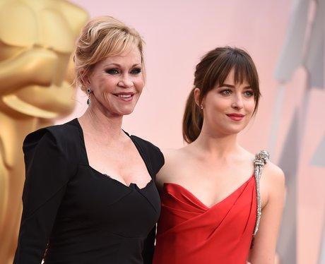 Dakota Johnson and mum Melanie Griffith arrive at