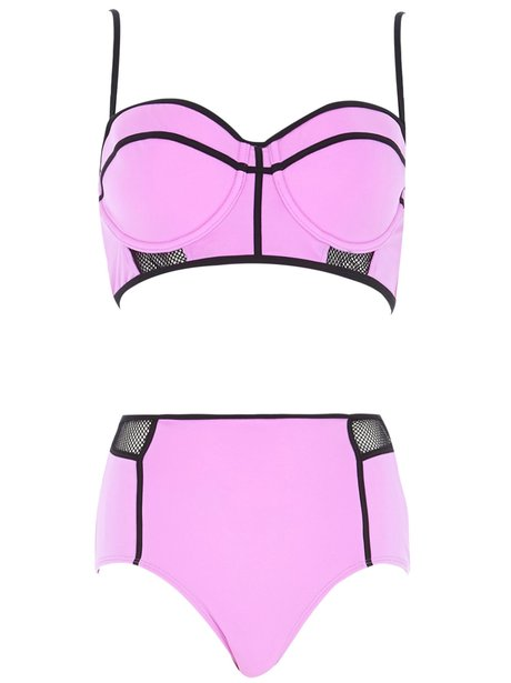 River Island Purple Mesh Bustier Bikini Top, £18 And Bottoms, £14