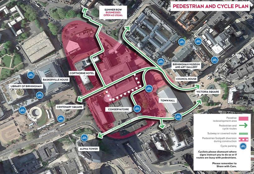 Cycle map Birmingham paradise area redevelopment