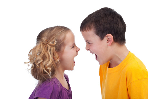 A boy and girl shouting at each other
