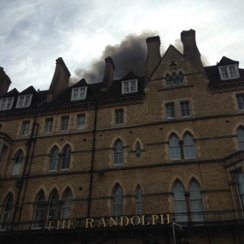 Randolph fire front of hotel