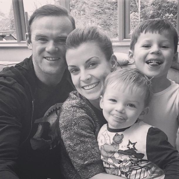Wayne Rooney and Coleen Rooney and children