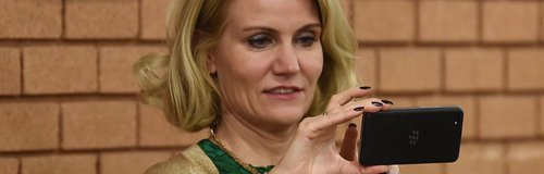 Helle Thorning Schmidt takes a photo