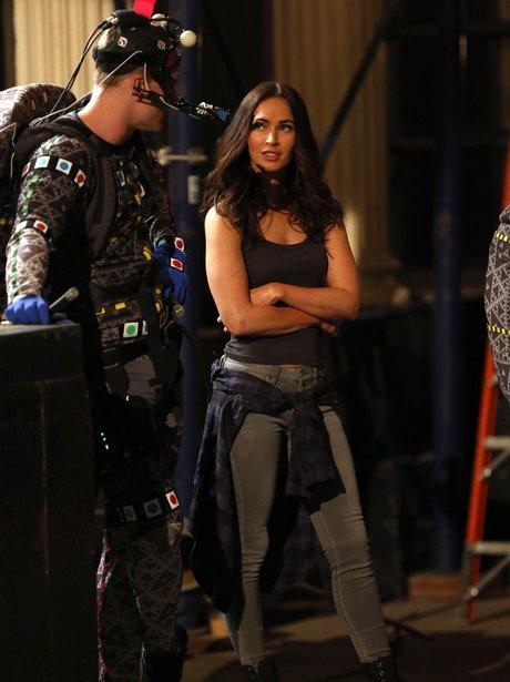 Megan Fox on set Teenage Mutant Ninja Turtles 2