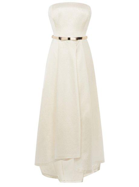 A strapless cream gown
