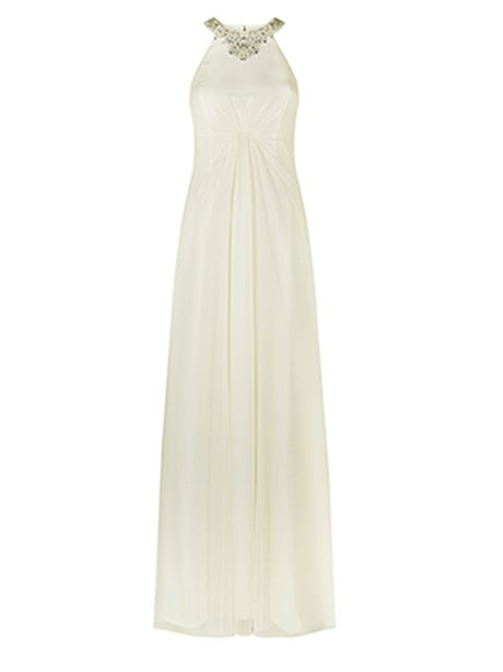 A high necked white gown
