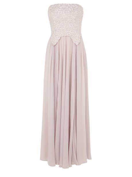 A long strapless pale pink gown