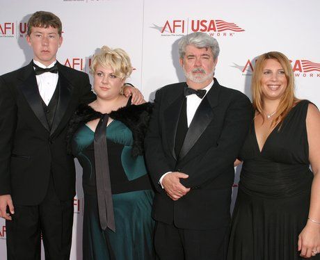 George Lucas with children Amanda, Katie, and Jett