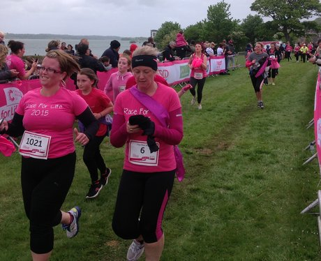 ladies coming to the finish line