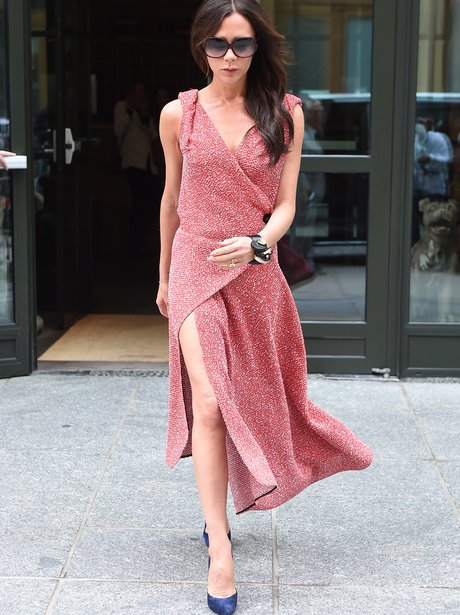 Victoria Beckham in wrap around dress