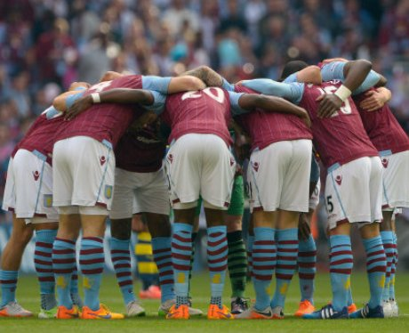 Villa team talk ahead of the FA Cup final