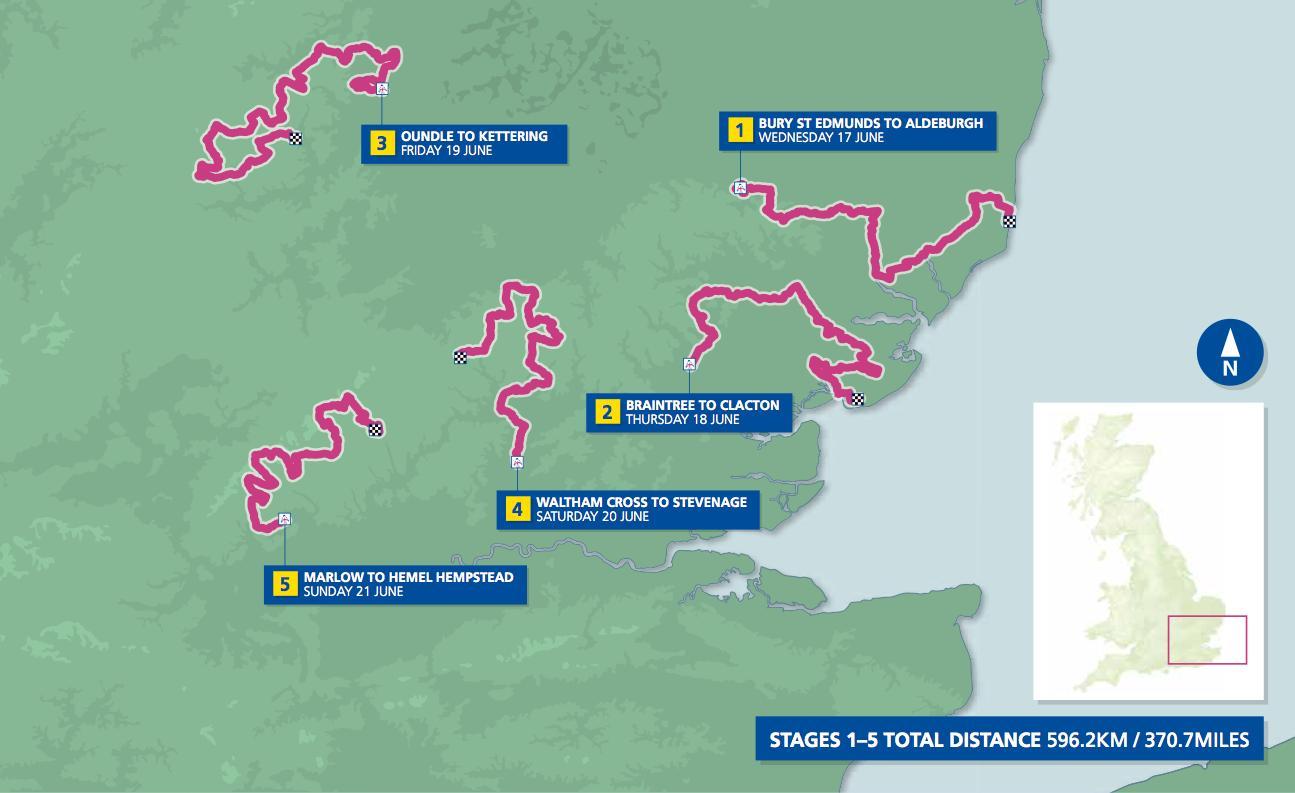 Aviva Women's Tour Map