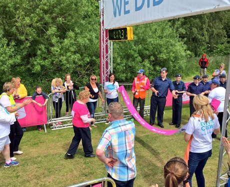 sylvia crosses the finish line