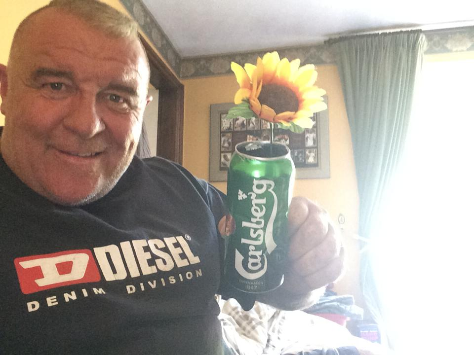 Shane's sunflower in a beer can