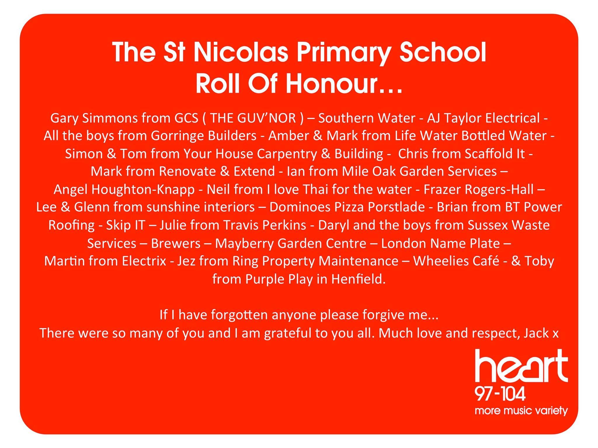 St Nicolas School - Thank Yous