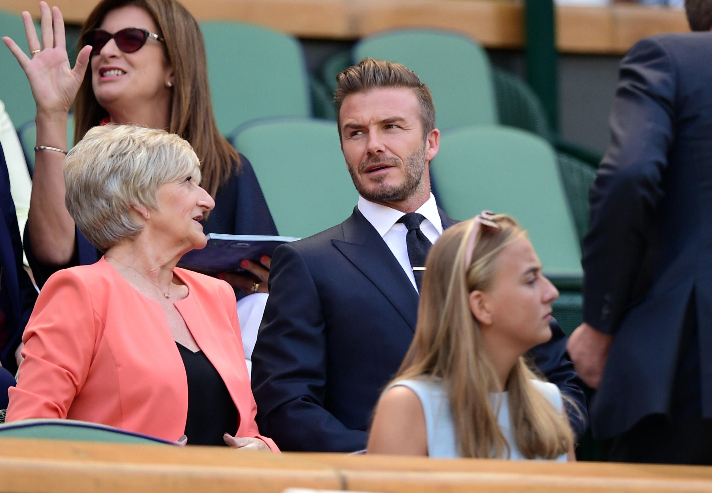 David Beckham takes his Mum to Wimbledon Day Ten