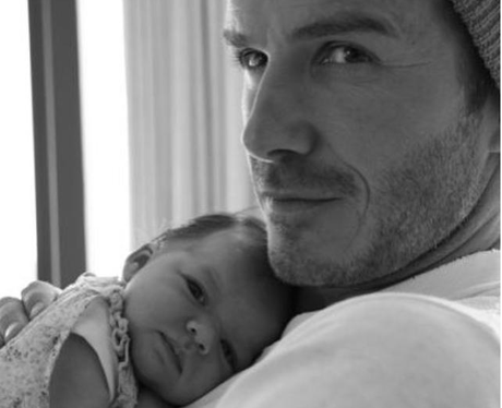 David Beckham with baby Harper